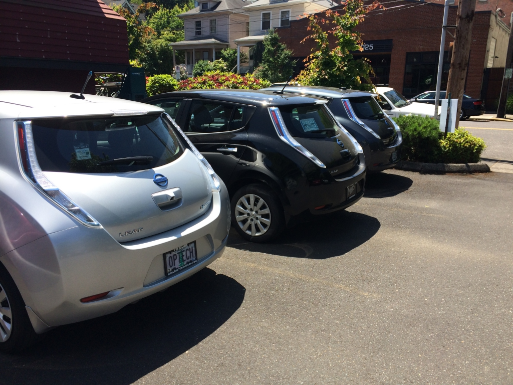 Workplace Charging pic of Nissan LEAFs charging at OpConnect
